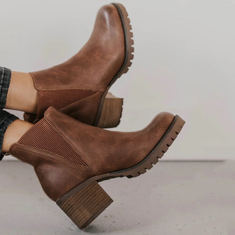 Simple Women Round Toe Thick Heel Boots