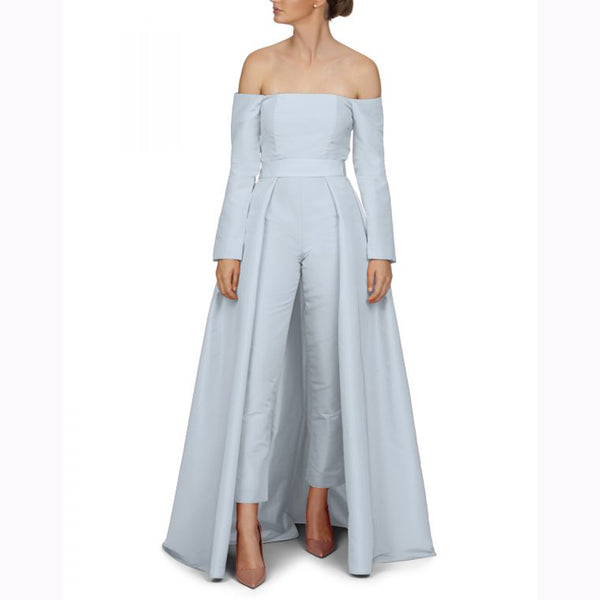 Fashion Elegant Pure   Colour Jumpsuit With Convertible Skirt