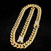 Diamond Cuban Chain Necklace + Bracelet Set in Yellow Gold