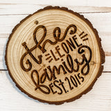 Personalized || Log Slice Ornament