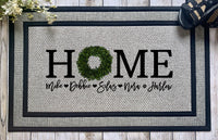 Personalized || HOME with Boxwood Wreath