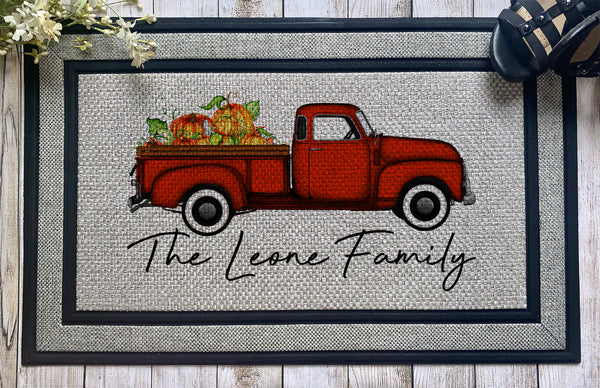 Personalized || Orange Pumpkin Pickup Truck