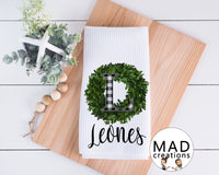 Personalized || Monogram Buffalo Plaid Boxwood Wreath