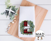 Personalized || Magnolia Wreath with Buffalo Plaid