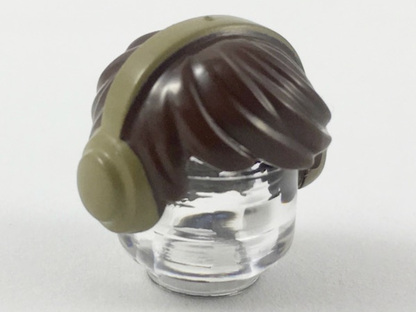 LEGO Minifigure, Hair Short Tousled with Dark Tan Earmuffs Pattern [Dark Brown] [10166pb03]