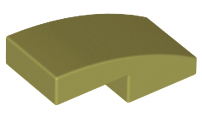 LEGO Slope, Curved 2 x 1 No Studs [Olive Green] [11477]