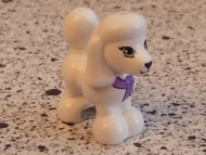 LEGO Dog, Friends, Poodle with Dark Purple and Medium Lavender Bow, Lime Eyes and Black Nose and Mouth Pattern [White] [11575pb02]