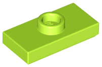 LEGO Plate, Modified 1 x 2 with 1 Stud with Groove and Bottom Stud Holder (Jumper) [Lime] [15573]