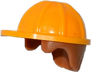 LEGO Minifigure, Headgear Helmet Construction with Medium Dark Flesh Hair Pattern [Bright Light Orange] [16175pb02]