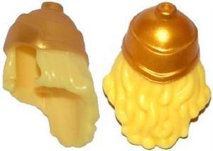 LEGO Minifigure, Hair Long Wavy with Gold Greek Soldier Helmet Pattern [Bright Light Yellow] [17354pb01]