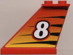 LEGO Tail 4 x 1 x 3 with White Number 8 on Tiger Stripes Background Pattern on Left Side (Sticker) - Set 8229 [Red] [2340pb007]
