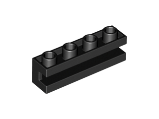 LEGO Brick, Modified 1 x 4 with Groove [Black] [2653]