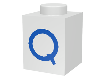 LEGO Brick 1 x 1 with Blue 'Q' Pattern [White] [3005ptQ]
