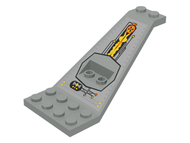 LEGO Wing Plate Bi-level 8 x 4 and 2 x 3 1/3 Up with Silver/Orange/Black UFO Pattern [Light Gray] [30118pb01]