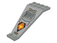 LEGO Wing Plate Bi-level 8 x 4 and 2 x 3 1/3 Down with Silver/Orange/Black UFO Logo Pattern [Light Gray] [30119pb01]