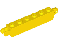 LEGO Hinge Brick 1 x 6 Locking with 1 Finger Vertical End and 2 Fingers Vertical End [Yellow] [30388]