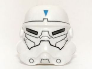 LEGO Minifigure, Headgear Helmet SW Stormtrooper, 2 Chin Holes, Special Forces Commander Pattern [White] [30408pb04]