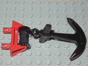 LEGO String Reel 1 x 4 x 2 Complete with String and Black Boat Anchor [Red] [30636c03]