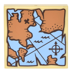 LEGO Tile 2 x 2 with Map Treasure with Compass and Dark Brown 'X' Pattern [Tan] [3068bpb1010]