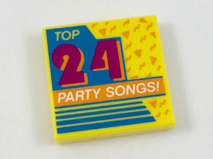 LEGO Tile 2 x 2 with 'Top 24 Party Songs!' Album Cover Pattern [Yellow] [3068bpb1137]