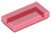 LEGO Tile 1 x 2 with Groove [Trans-Red] [3069b]