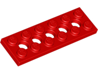 LEGO Technic, Plate 2 x 6 with 5 Holes [Red] [32001]