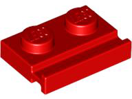 LEGO Plate, Modified 1 x 2 with Door Rail [Red] [32028]