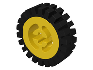 LEGO Wheel with Split Axle hole, with Black Tire Offset Tread (3482 / 3483) [Yellow] [3482c01]