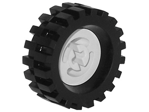 LEGO Wheel with Split Axle hole, with Black Tire 30 x 10.5 Offset Tread (3482 / 2346) [White] [3482c02]