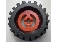 LEGO Wheel with Split Axle hole, with Black Tire 30 x 10.5 Offset Tread (3482 / 2346) [Red] [3482c02]