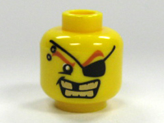LEGO Minifigure, Head Male Eyepatch, Gold Teeth, Missing Tooth Pattern - Blocked Open Stud [Yellow] [3626bpb0301]