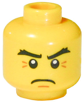 LEGO Minifigure, Head Thick Eyebrows, White Pupils and Crow's Feet Pattern - Blocked Open Stud [Yellow] [3626bpb0503]