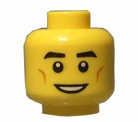 Dimples x1 NEW Lego Minifig Head Black Eyebrows White Pupils and Open Smile