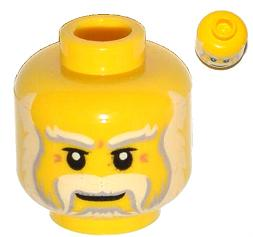 LEGO Minifigure, Head Beard Gray and White Full, Thick Moustache and Eyebrows Pattern - Hollow Stud [Yellow] [3626cpb1004]