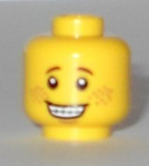 LEGO Minifigure, Head Open Mouth Smile with Teeth and Braces, Freckles Pattern - Hollow Stud [Yellow] [3626cpb1177]