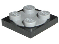 LEGO Turntable 2 x 2 Plate with Light Bluish Gray Top [Black] [3680c02]