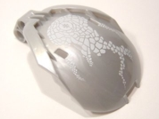 LEGO Bionicle Bohrok Windscreen 4 x 5 x 7 with White Scales and Kohrak-Kal Logo [Pearl Light Gray] [41671pb05]