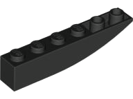LEGO Slope, Curved 6 x 1 Inverted [Black] [42023]