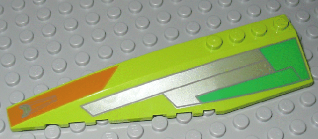 LEGO Wedge 12 x 3 Left with Silver, Green, Orange Pattern (Set 7133) [Lime] [42061px1]
