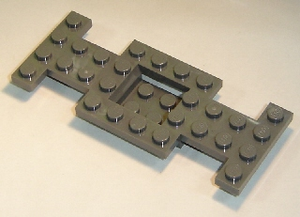 LEGO Vehicle, Base 4 x 10 x 2/3 with 2 x 2 Recessed Center with Smooth Underside, No Center Hole [Dark Bluish Gray] [4212b]