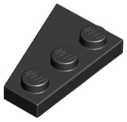 LEGO Wedge, Plate 3 x 2 Right [Black] [43722]