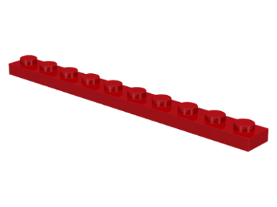 LEGO Plate 1 x 10 [Red] [4477]