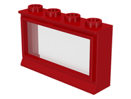 LEGO Window 1 x 4 x 2 with Fixed Glass [Red] [453]