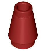 LEGO Cone 1 x 1 with Top Groove [Dark Red] [4589b]