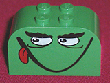 LEGO Brick, Modified 2 x 4 x 2 Double Curved Top with Monster Face Smiling, Tongue Pattern [Green] [4744pb08]