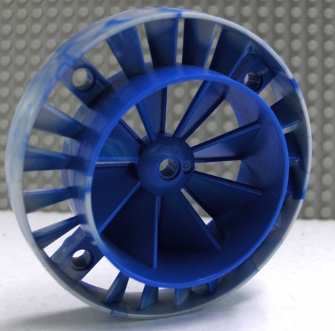 LEGO Engine, Very Large Turbine, with Blue Marbled Center [Pearl Light Gray] [53983pb02]