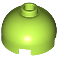 LEGO Brick, Round 2 x 2 Dome Top - Hollow Stud with Bottom Axle Holder x Shape + Orientation [Lime] [553c]