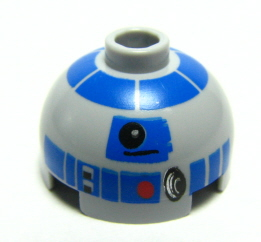 LEGO Brick, Round 2 x 2 Dome Top with Blue Pattern (R2-D2) [Light Bluish Gray] [553pb004]