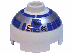 LEGO Brick, Round 2 x 2 Dome Top with Silver and Blue Pattern (R2-D2) [White] [553px2]