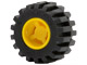 LEGO Wheel 11mm D. x 12mm, Hole Notched for Wheels Holder Pin with Black Tire Offset Tread Small Wide (6014b / 6015) [Yellow] [6014bc01]